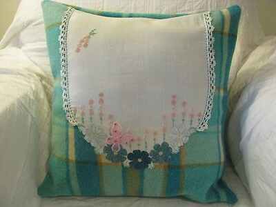 VINTAGE HANDMADE WOOLEN BLANKET CUSHION COVER Embroided