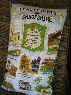 PILLOW COVER - HANDMADE - Beauty Spots of Shropshire UPCYCLED TEA TOWEL