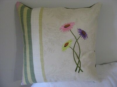 HANDMADE CUSHION COVER  Embroidered Gebera