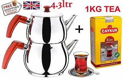 Traditional Turkish Tea Pot Stainless Steel Caydanlik 4.3 LT **UK STOCK FROM UK*