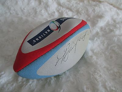 mini gilbert RBS 6 nations rugby ball signed by Martin Bayfield