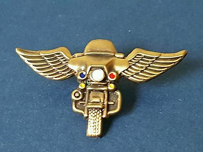 ANTQUE BRASS POLICE MOTORCYCLE Pin..Pin Back Attachment