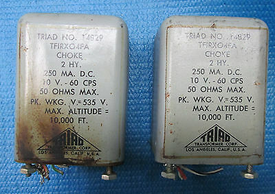 PAIR (2) Vintage TRIAD USA #14829  CHOKE Transformer  ! 2 DIFFERENT OHM READOUTS