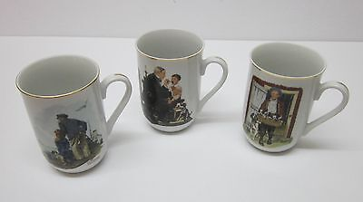 Norman Rockwell 1985 Authentic Museum Cups-Set Of 3