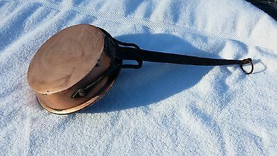 Hammered Iron  And Copper Fry Pan  Vintage Handmade  #732