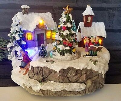 Village w Rotating tree Musical Winter Songs Christmas Led The Satterfield Colec