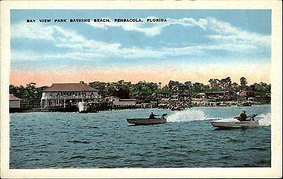 Bay View Park Bathing Beach Pensacola Florida FL speed boat racing race 1920s