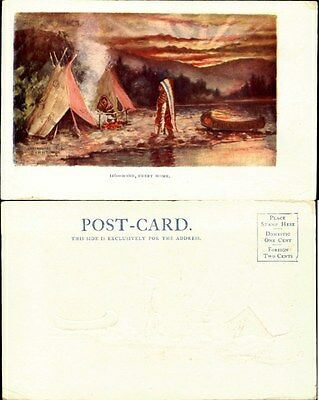 Indian Native American teepee canoe 1902-1907 embossed artist signed Tammen 1904