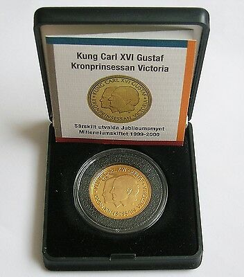1999 Sweden King Carl Xvi Gustaf Gold 2000 Kronor Millennium Coin With Case/cert