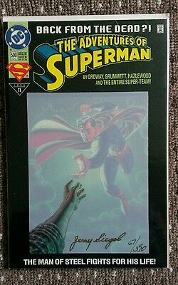 "Death of Superman ""Back from the Dead"" Signed By JERRY SIEGEL DF COA"