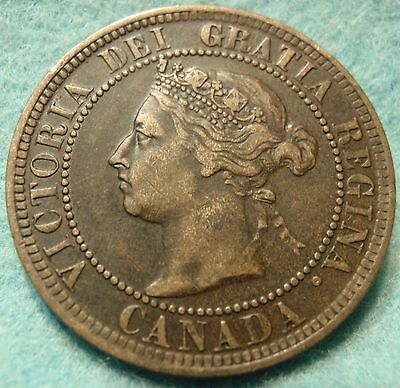 1886 VF High-Grade CANADA LARGE-CENT Victoria COIN No-Res CANADIAN