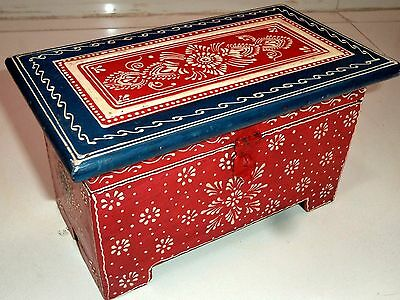 Wooden Handcrafted Painted Embossed Christmas Jewelry Trunk Chest Box India