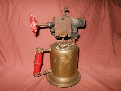 Antique Metal Blowtorch The Turner Brass Works Red Wood Handle