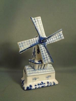 Vintage Blue & White Ceramic Windmill Salt / Pepper Pot