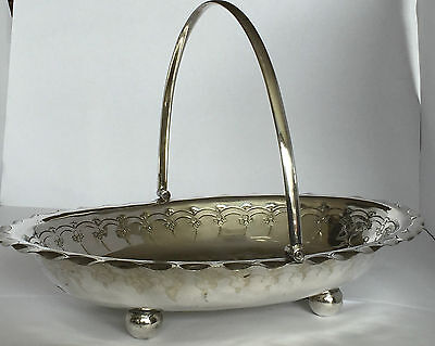 Antique silver plated oval bread or fruit basket