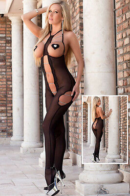 Sultry Cutout Chain Detail Sheer Mesh  BodyStocking