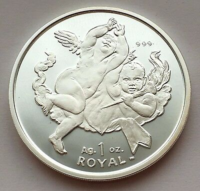 2001 Gibraltar 1 Royal Two Cherubs  Proof Silver Coin Free Shipping