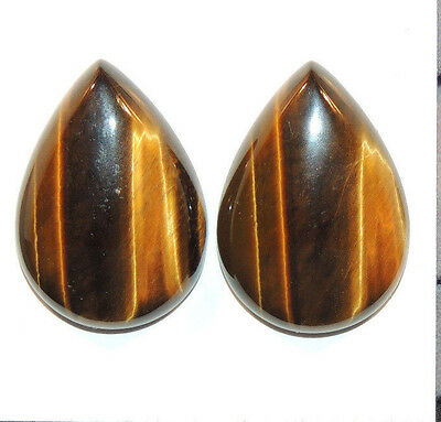 Tiger's Eye 25x17.5mm with 6mm dome Cabochons Set of 2 From Africa (11667)
