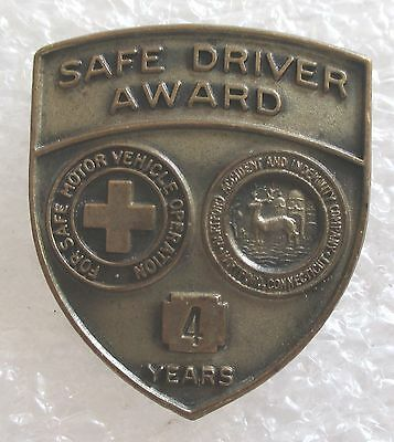 Vintage Hartford Accident & Indemnity Company 4 Years Safe Driver Award Pin