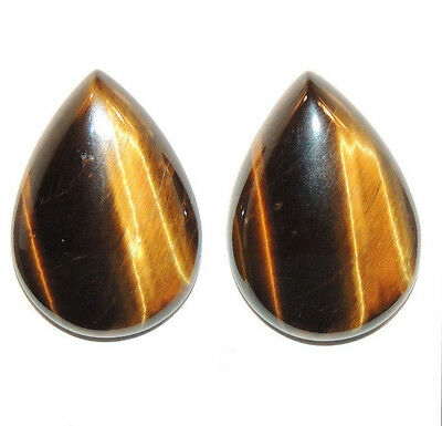 Tiger's Eye 25x17.5mm with 6mm dome Cabochons Set of 2 From Africa (11668)
