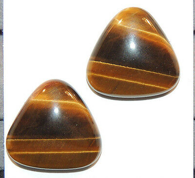 Tiger's Eye 20x19mm with 6mm dome Cabochons Set of 2 From Africa (11667)
