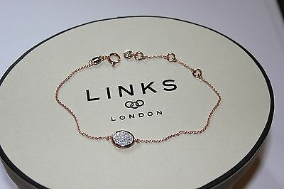 Genuine Links Of London Essentials 18 Ct Rose Gold & Pave Diamond Oval Bracelet