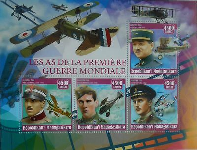 Aces of Aviation WWI World War I Aircraft Madagascar 2016 m/s MNH #MDG2016-23
