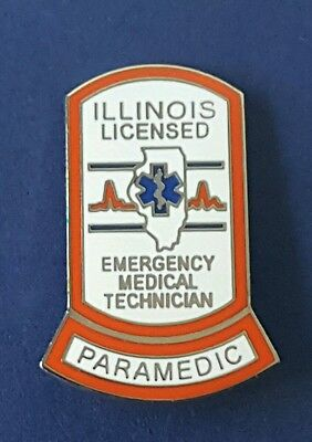 """ILLINOIS LICENSED PARAMEDIC PIN..1"""" in size, Pin Back Attachment"""