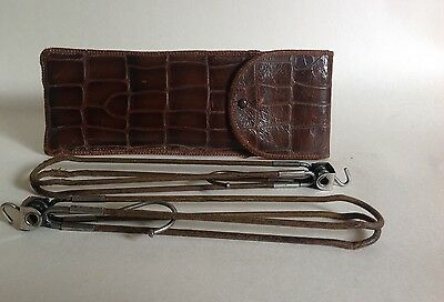 Pair Of Vintage Folding Coat Hangers And Moc Croc Leather Case