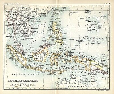 Original 1896 Map EAST INDIES Philippines Sumatra Siam Vietnam Java Taiwan Luzon