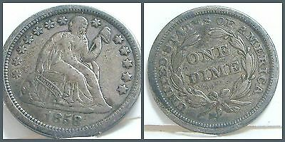 1858-p Seated Liberty Silver Dime United States VF USA US Ten 10 cents