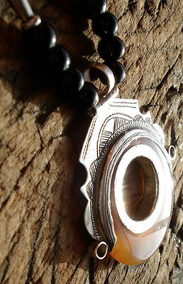 Niger Tuareg silver round transluscent agate scarab pendant necklace with beads
