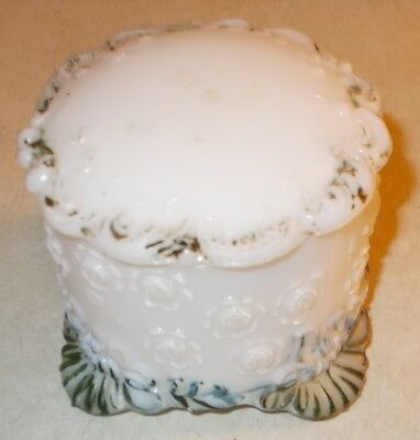 Beautiful Vintage / Antique Milk Glass Trinket box w/ Roses and painted features