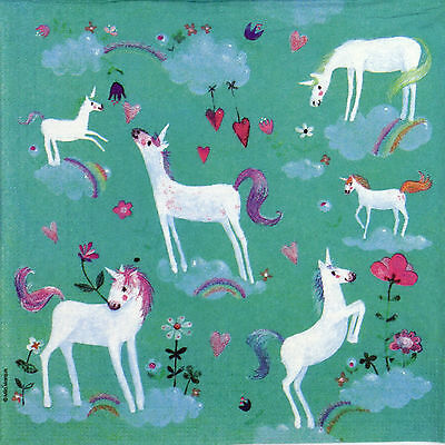 4x Paper Napkins for Decoupage Decopatch Craft White Unicorns