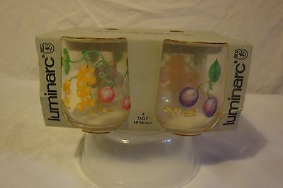 Durand Luminarc Glass Mixed Fruit Nib Set Of 4 Glasses Cups Lowball Tumblers