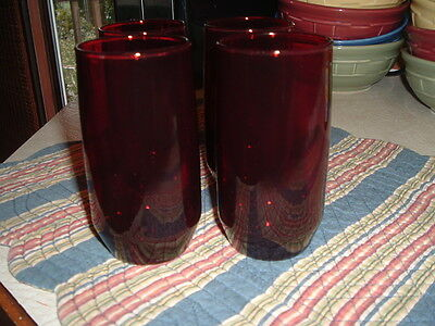 "4 Anchor Hocking Royal Ruby Water Glasses Tumblers 5"" Slightly Tapered Base"