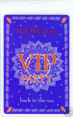 PAUL McCARTNEY - BEATLES - LAMINATED VIP BACKSTAGE PASS