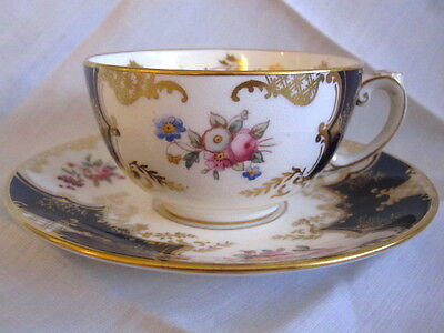 Antique Coalport  Cup Saucer  Cobalt Gold