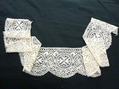 "CREAM ANTIQUE VINTAGE SILK MALTESE LACE TRIM 60"" Length 6"" Wide"