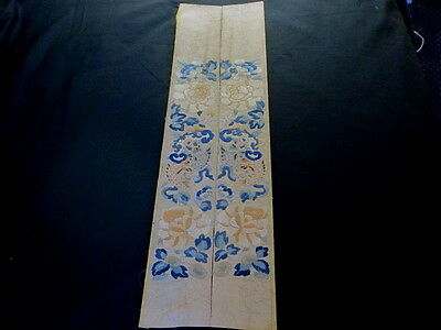 2 Antique 1800's CHINESE EMBROIDERY SILK SLEEVE PANELS  7 1/2X28""