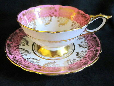 Royal Standard England Wide Cabinet CUP SAUCER PINK AND GOLD