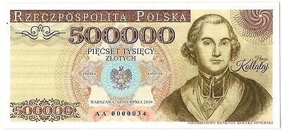 "POLAND 500000 ZLOTYCH  Project collector note ""Hugo Kollataj"" UNC"