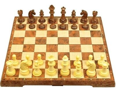 Vintage Wooden3in1 + Magnetic Chess Set Folding Board Gift Kids Toys  2 Boxes
