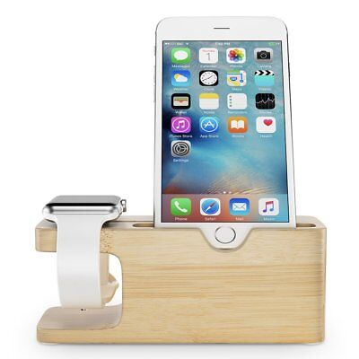 iPhone Apple Watch Bamboo Stand Docking Charging Station Holder Organize Display