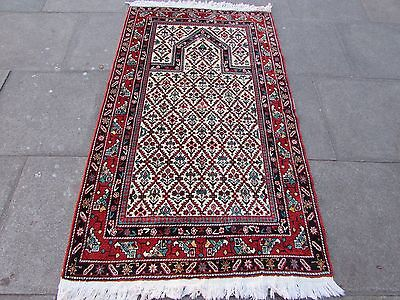 OLd Traditional Hand Made Caucasian Cream Red Wool Oriental Rug 182x106cm