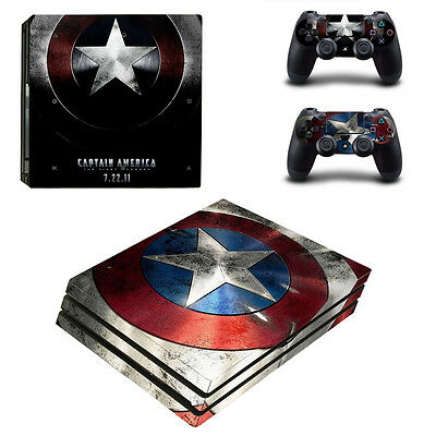 Captain America Vinyl Decal Skin Sticker for Sony PS4 Pro Console & Controllers