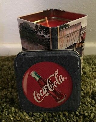 Coca Cola Tin with Lid Wax Candle Red 1999 Barn Store Country Soda Pop Collect