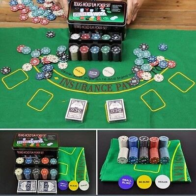 Adult Entertainment Black Jack Texas Hold Em Poker set 200 Pcs Chips Etc