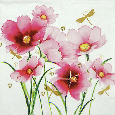 4 Single Table Party Paper Napkins for Decoupage Decopatch Craft Spring Blooms
