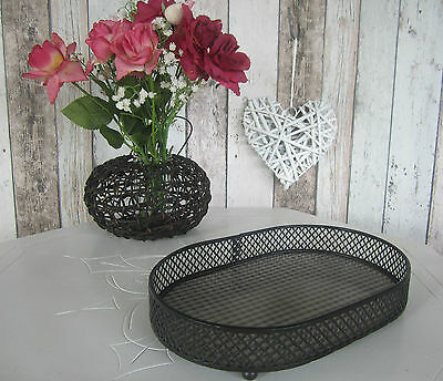 Oval Vintage Tray - Brushed Black Mesh Check Design -  French Country